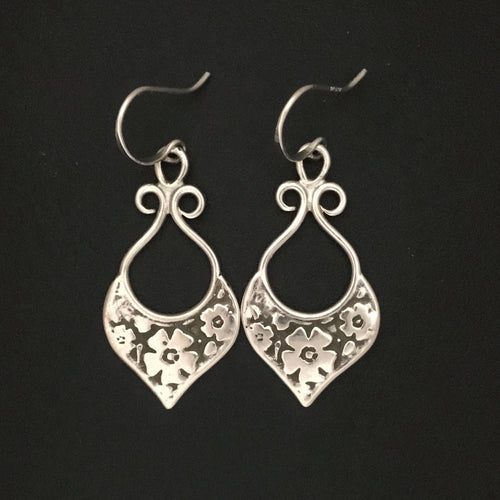 Rustic Floral Etched Earrings, Long