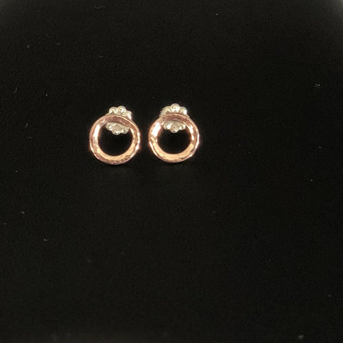 14K Rose Gold Hammered Circle Earrings