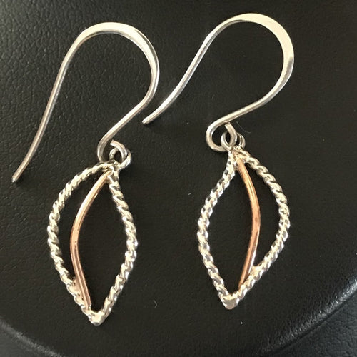 14K Rose Gold & Silver Leaf Earrings