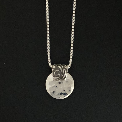 Etched Bail Hammered Disc Pendant Necklace