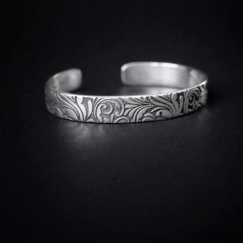 Etched Narrow Cuff Bracelet