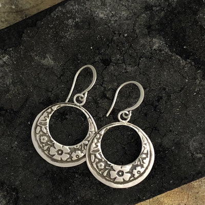 Rustic Floral Etched Earrings