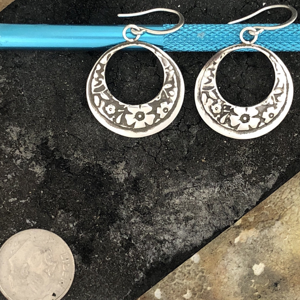 Floral Etched Earrings