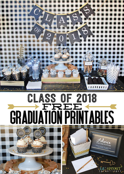 Free Class of 2018 Graduation Party Printables by Lil' Sprout Greetings
