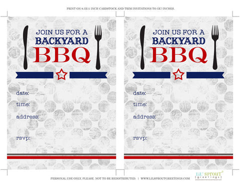 photo about Free Printable Cookout Invitations known as No cost Printable BBQ-Cookout Invitation Lil Sprout Greetings
