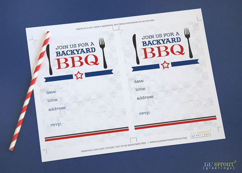 bbq printable freebie invite