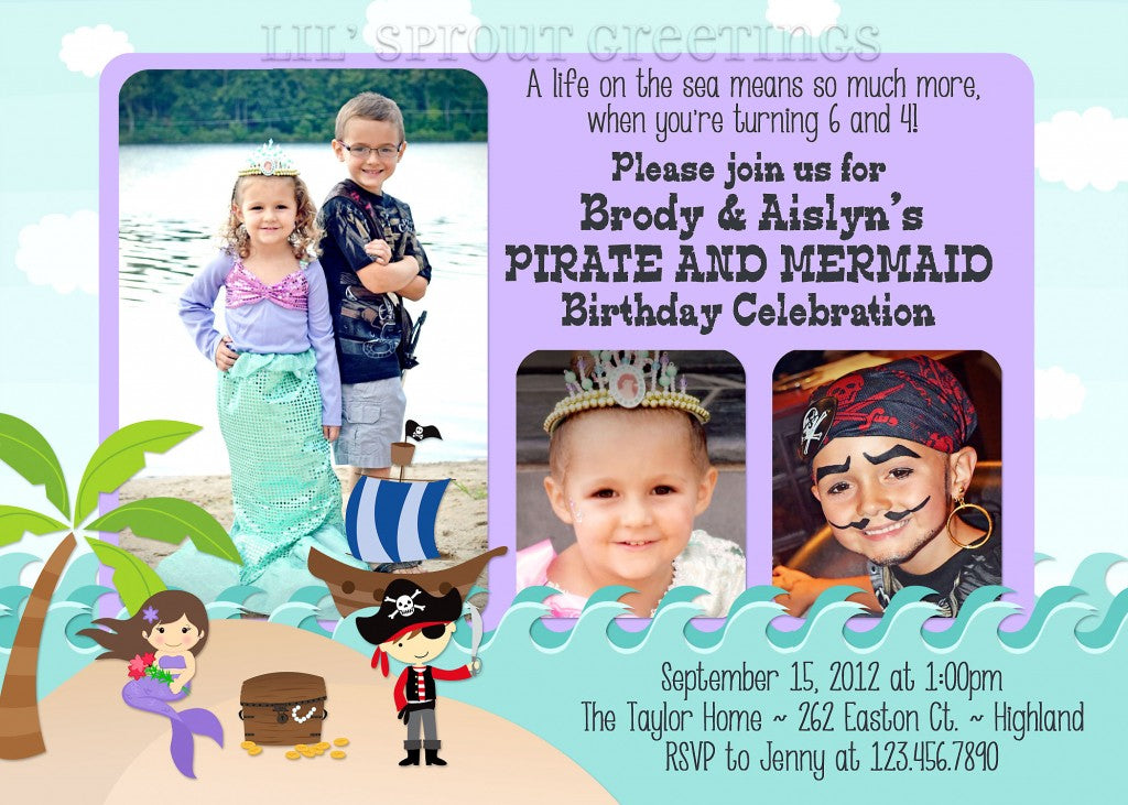 Pirate and Mermaid JointTwin Birthday Invitation Lil Sprout – Twin Birthday Invitation