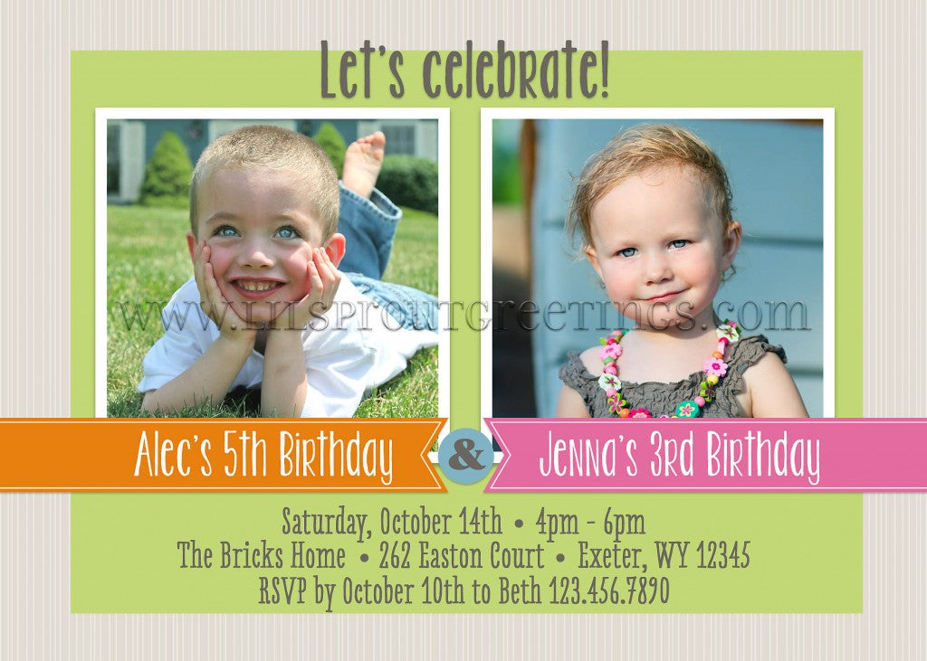 New Joint Twin Birthday Invitations Sibling Celebration Lil – Twin Birthday Invitation