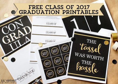 graphic about Free Graduation Printable identified as Cost-free Cl of 2017 Commencement Printables Thank Oneself Be aware