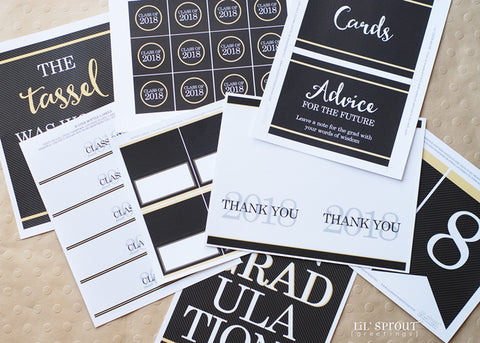 2018 Free Printable Graduation Party Printables by Lil' Sprout Greetings