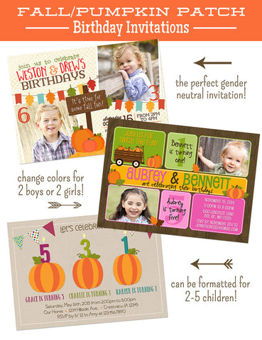 pumpkin patch fall themed birthday invitation