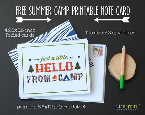 free summer camp note card printable lilsproutgreetings.com