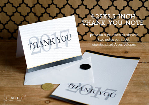 free class of 2017 graduation thank you note printable