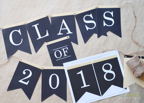 Free Printable Class of 2018 Graduation Banner by Lil' Sprout Greetings