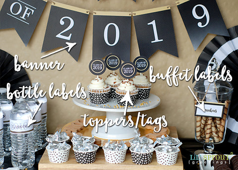 photograph about Printable Graduation Decorations named Cost-free Cl of 2019 Commencement Social gathering Printables Lil Sprout