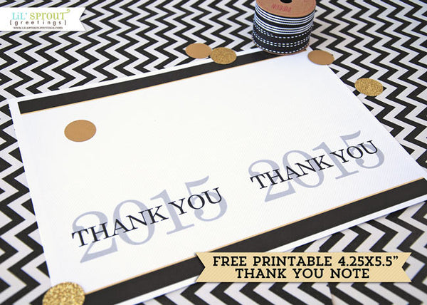 free printable graduation thank you note | LilSproutGreetings.com