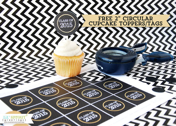 free printable graduation cupcake toppers | LilSproutGreetings.com