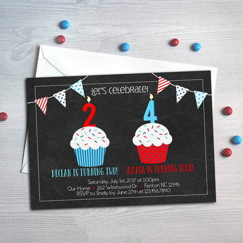 Patriotic Cupcake Sibling Birthday Invitation