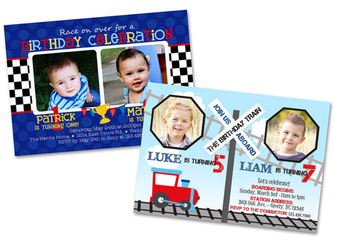 train-race-car-joint-birthday-party-invitations