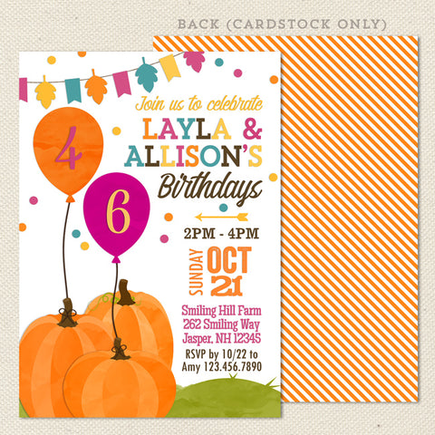 Autumn Pumpkin Joint Birthday Party Invitations
