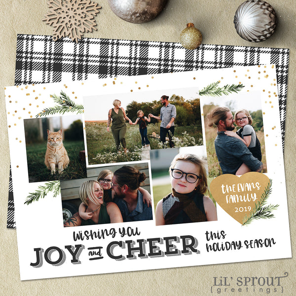 black gold joy and cheer holiday christmas card