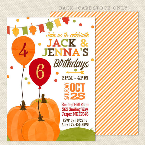 autumn pumpkin joint birthday party invitation