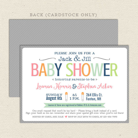 simple sherbet neutral baby shower invitation