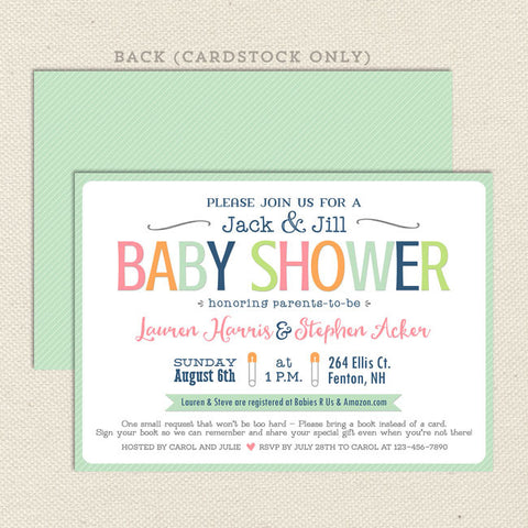 simple sherbet neutral baby shower invitation mint