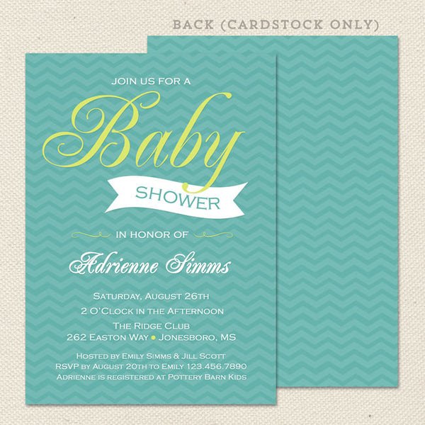 blue chevron boy baby shower invitation