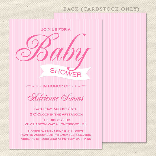 pink stripes girl baby shower invitation