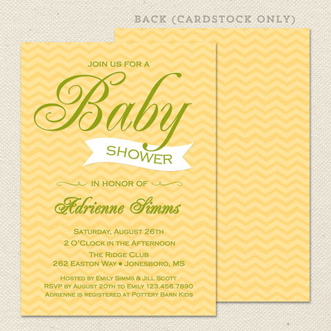 yellow chevron neutral baby shower invitation