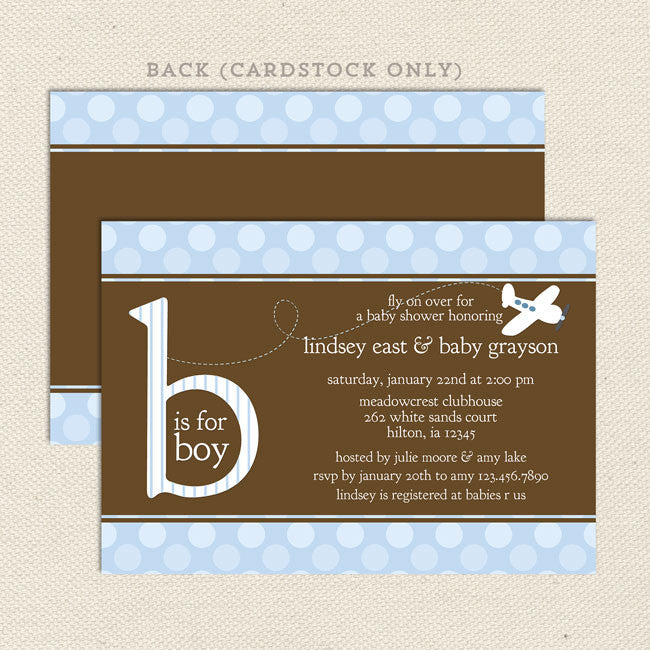 Blue Airplane Baby Shower Invitation – Lil\' Sprout Greetings