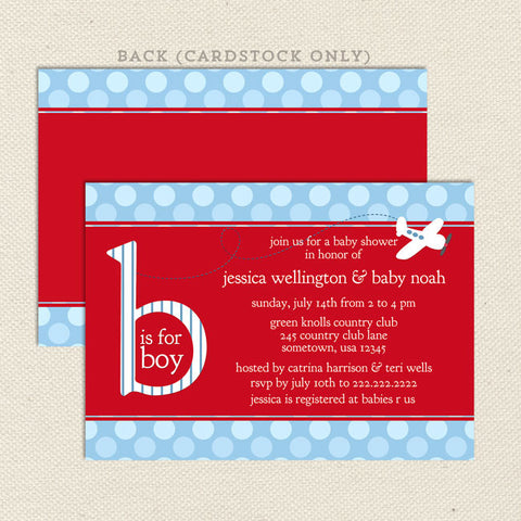 red airplane boy baby shower invitation