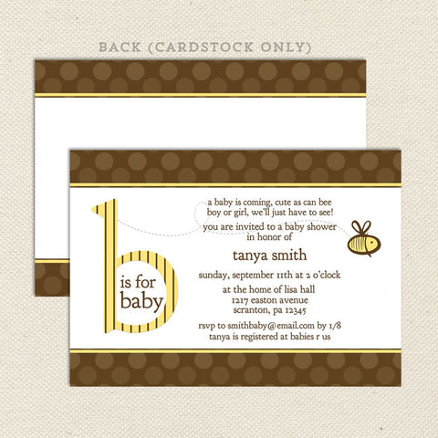 bee gender neutral baby shower invitation