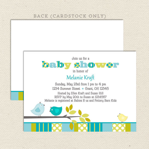 baby shower invitation bird boy
