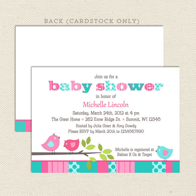 Bird girl baby shower invitation lil sprout greetings bird girl baby shower invitation aqua pink filmwisefo Image collections