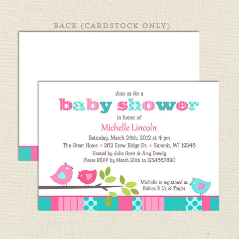bird girl baby shower invitation aqua pink
