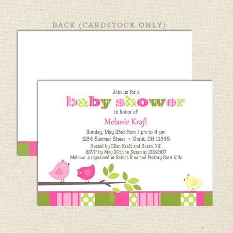 bird girl baby shower invitation green pink