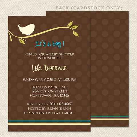birdie boy printable baby shower invitation