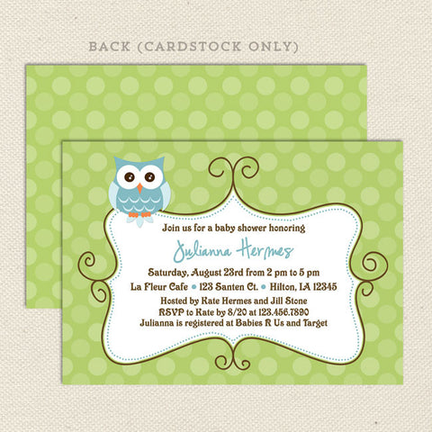 owl boy baby shower invitation blue green