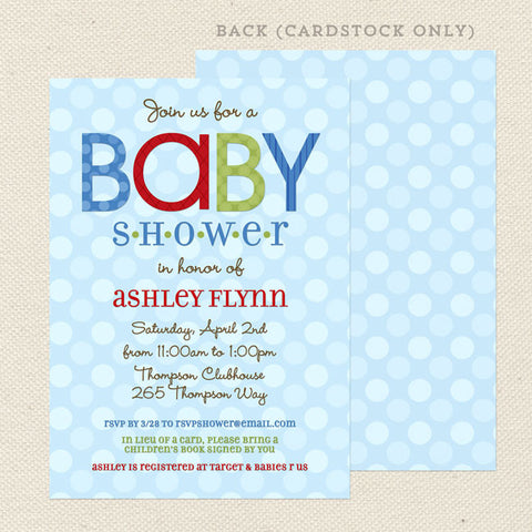 shabby chic boy baby shower invitations