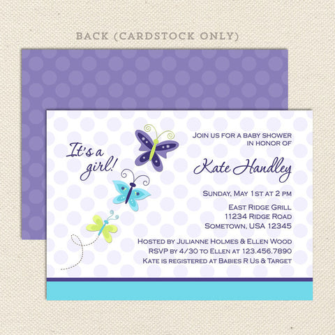lavender butterfly girl baby shower invitation