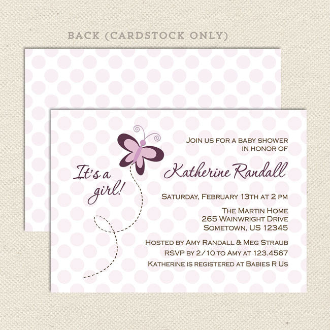 Purple Butterfly Girl Baby Shower Invitation Lil Sprout Greetings