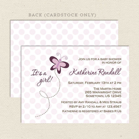 purple butterfly girl baby shower invitations