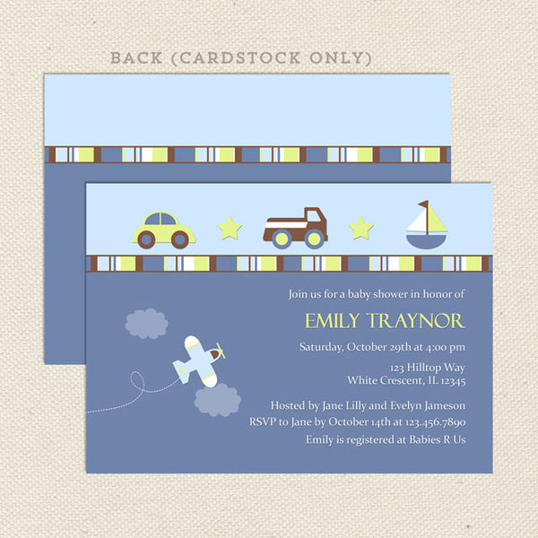 car truck boy baby shower invitation