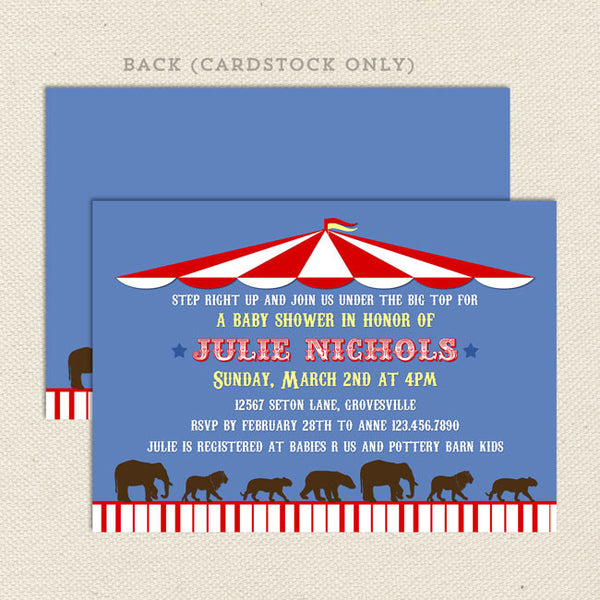 circus big top baby shower invitation neutral