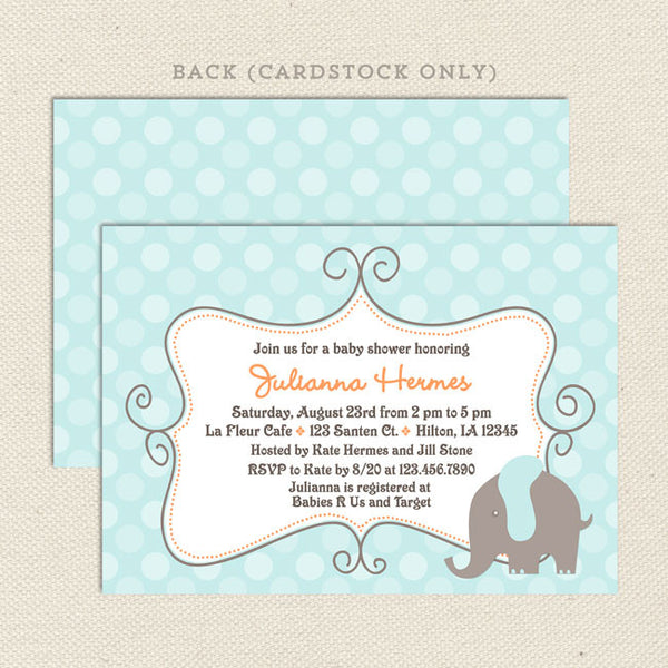 elephant boy baby shower invitation blue