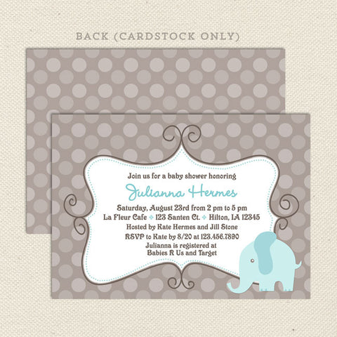 tan gray elephant boy baby shower invitation