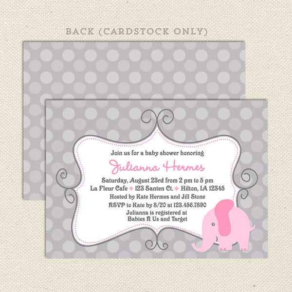 Elephant Girl Baby Shower Invitations