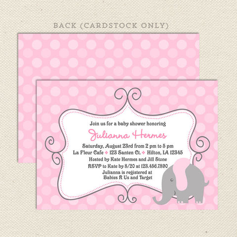Baby shower invitations lil sprout greetings elephant girl baby shower invitations elephant girl baby shower invitations filmwisefo